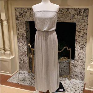 Strapless J. Crew Gray Maxi Dress w/Tie waist XS